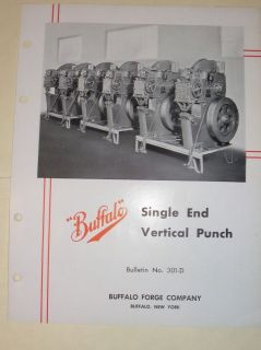 Vtg Buffalo Forge Co Catalog~Single End Vertical Punch