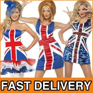 Union Jack British Flag Olympics GB Costume Outfit Dress Sizes 8 18