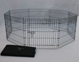 24 Black Pet Dog Cat Play Exercise Pen Fence w/Case 4B