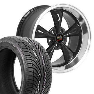 18 9/10 Black Bullitt Bullet Style Wheels ZR Tires Rims Fit Mustang