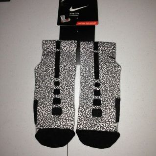 Brand New Custom Nike Elite Socks Large Jordan 3 Elephant Print White
