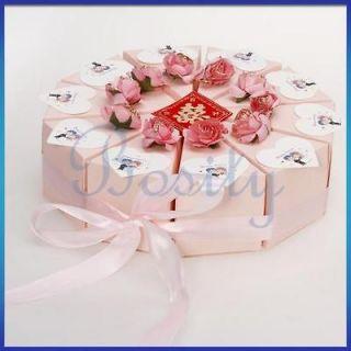 10 Slice Pink Cake Slice Box Baby Shower Wedding Favor Box Centerpiece