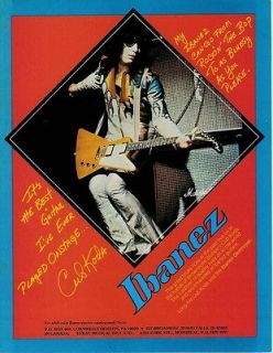 1976 CUB KODA FOR THE IBANEZ DESTROYER GUITAR PHOTO AD