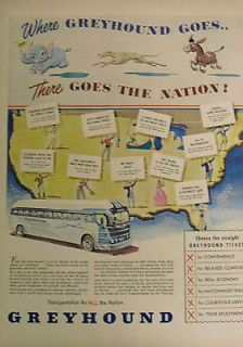 1948 Ad Greyhound Bus There Goes the Nation Straight Ticket