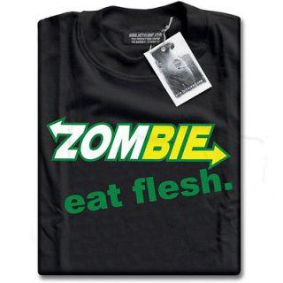 Zombie Eat Flesh Funny Subway Parody Mens Black Premium Cotton T Shirt