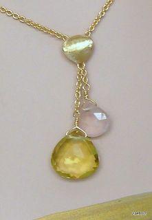 New $1650 MARCO BICEGO 2 Gemstone 18K Gold Lariat Necklace SALE