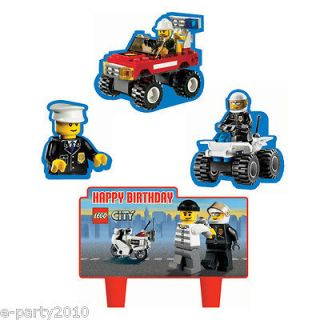 4pc LEGO CITY Wilton MINI CAKE DECORATIONS ~ Birthday Party Supplies