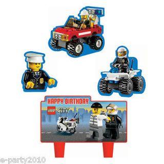 4pc LEGO CITY Wilton MINI CAKE DECORATIONS ~ Birthday Party Supplies