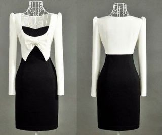 NEW office elegant women black & white long sleeve slim fit BOW Dress