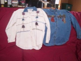 Womens Clothing   Lot of 2pcs   Denium & Cotton Shirts   Ladie s Size