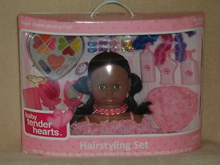 2012 BNIB BABY TENDER HEARTS 8 DOLL HEAD HAIRSTYLING MAKE UP AFRICAN