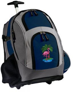 Pink Flamingo Rolling Backpack Cute School Bag Carry On With Wheels