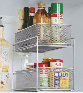 Two Tier Sliding Steel Wire Mesh Baskets for the Cabinet Pantry