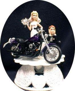 Wedding Cake Topper w/die cast Harley Davidson Motorcycle Dyno Super