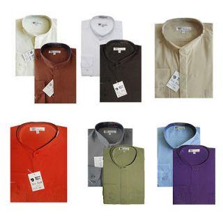 New Mens Classic Dress Shirt Mandarin Collar (Collarless) Hidden