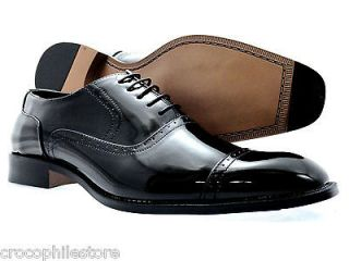 Mens Dress Shoes Bolano Oxford Lace Up Patent leather Fashion Shoes