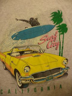 vtg 1991 SURF CITY CALIFORNIA 55 CHEVY HOT ROD t shirt sz L MADE IN
