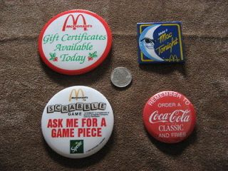 Lot of 4 Vintage McDonalds Button Pins