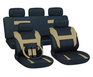 16pc Set Tan Black SUV Auto Car Seat Covers + Steering Wheel Belt Pad