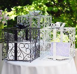 Card Holder Silver Present Money Wedding Reception Box Silver Black