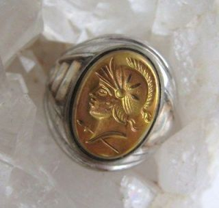 Uncas Sterling Ring Vintage Silver Gold Cameo Intaglio Roman Soldier