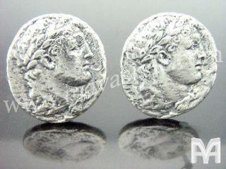 Sterling Silver Ancient Julius Caesar Coin Replica Cufflinks Cuff