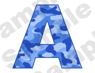 BLUE CAMO ALPHABET LETTERS NAME BABY NURSERY CHILDRENS TEEN WALL