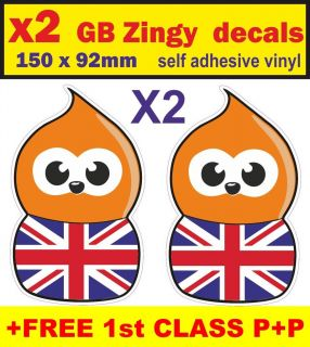 x2 Union Jack Zingy Decal EDF Vinyl Car Bumper Sticker vw golf polo
