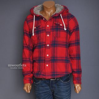 New Hollister Mens West Street Winter Plaid Flannel Faux Fur Jacket