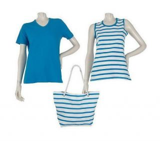Sport Savvy T Shirt, Tank, and Bag Set with Stripe Detail BLU S