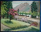 SUPERB OIL PAINTING WITH GOUACHE SWISS MOUNTAIN VIEW 1955 ORIGINAL