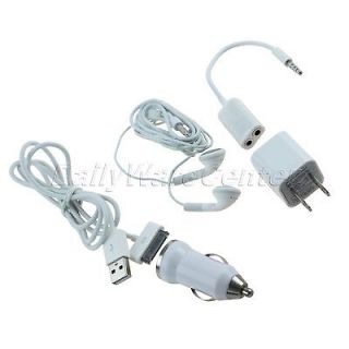 Car Travel Charger Adapter Stereo Earphone USB Cable Kit for iPhone