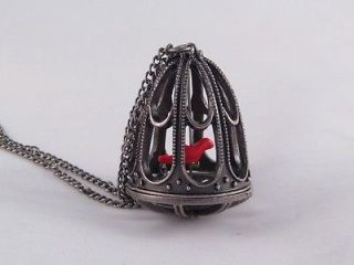 24 Victorian Style Bird Cage Necklace with a Red Canary Bird #N2039R