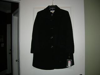 New Preston & York Ladies Coat Black Merino Wool 6 Petite NWT
