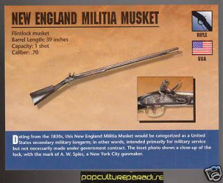 NEW ENGLAND MILITIA MUSKET RIFLE Classic Firearms CARD