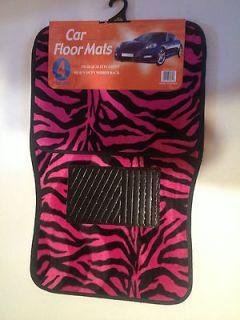 Hot Pink and Black Zebra Print Carpet 4 Piece Car Truck SUV Floor Mats