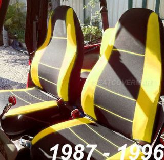 1987 96 Neoprene Front & Rear Car Seat Cover black&yellow yj127/88