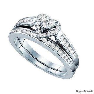 diamond 3 stone heart 10K gold 2 ring wedding band set .50 carats love