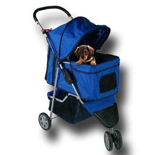 BLUE 4 WHEEL FOLDING DOG PUPPY STROLLER PET CARRIER (PET STR 3 NAV Y
