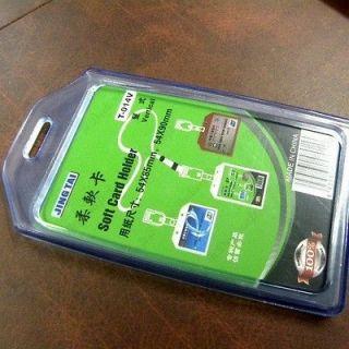 Clear Blue Vertical Soft Plastic ID Card Badge Holder Case 5.5x9cm