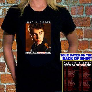 JUSTIN BIEBER Believe Tour 2013 Women Black T Shirt Tee S M L XL 2XL