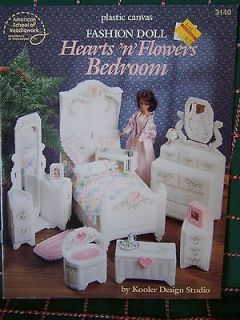 NEW Plastic Canvas Patterns Barbie Doll Hearts N Flowers Bedroom House