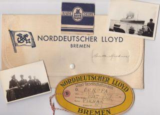 NORDDEUTSCHER LLOYD BREMEN CRUISE SHIP LINER 1930s WALLET LUGGAGE TAG