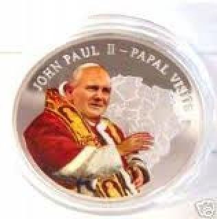 POPE JOHN PAUL II MULTI COLORED SILVER CLAD 2005 COIN UNC