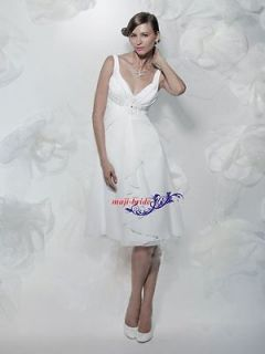 Neck White Chiffon Knee Length Casual Beach Wedding Dresses Cheap