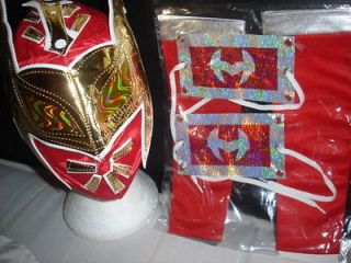 WWE SIN CARA CHILD REPLICA RED WRESTLING MASK FANCY DRESS UP COSTUME