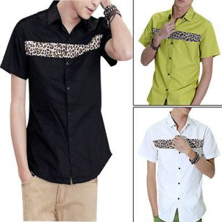 Mens Fashion Single Breasted Leopard Print Casual Shirt NEW