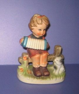Girl Playing Accordian w/Kitty Cat Figurine Made in Japan Napcoware