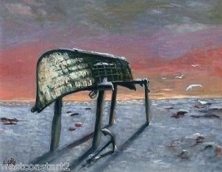Gabriel Gely Original Arctic Alaska Painting Umiak Boat Canadian