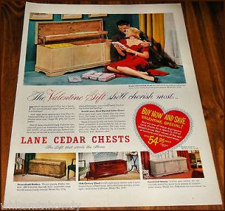 1951 LANE Cedar Hope Chest AD Models Shown 2576, 2578, 2577 & 2580